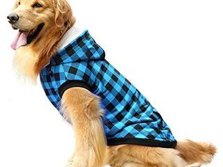 ASENKU Dog Winter Hoodie Fleece Thicken Dog Coat British Plaid Pet Jacket Warm Outfit with Removable Hat Windproof Vest for Small Medium large Dogs  Red  large