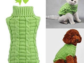 Aiwind Dog Cat Sweater Warm Braid Plait Turtleneck Knitwear Soft Fall Pullover Winter Pet Clothes for Dog Puppy Kitten Cat  XS  Green