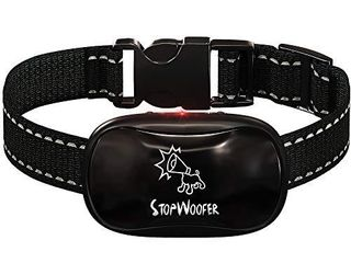 STOPWOOFER No Shock Bark Collar for Dogs   No Bark Collar for Small Medium and large Dogs   Barking Control Device   w 2 Vibration   Beep Modes   No Dog Control   Dog Training Automatic