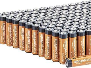 Amazon Basics 100 Pack AA High Performance Alkaline Batteries  10 Year Shelf life  Easy to Open Value Pack