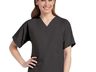Scrub Zone Premium Uniform Medical One Pocket V Neck Scrub Top  Black  4X large