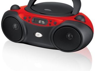 GPX  Inc  Portable Top loading CD Boombox with AM FM Radio and 3 5mm line In for MP3 Device   Red Black