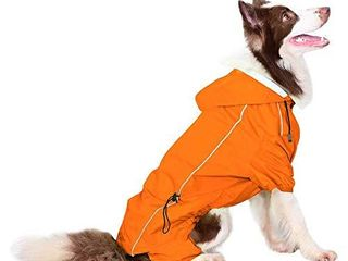 Companet Dog Raincoat Four Feet Adjustable Dog Snow Rain Jacket Dog Rain Poncho with Hood Safe Reflective Stripes for Medium large Pet
