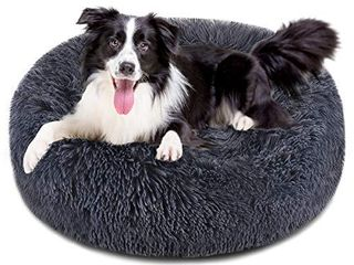 FOCUSPET Dog Bed Cat Bed Donut  Pet Bed Faux Fur Cuddler Round Comfortable for Dogs Ultra Soft Calming Bed Self Warming Indoor Sleeping Bed Multiple Sizes  20 24 32 40 46
