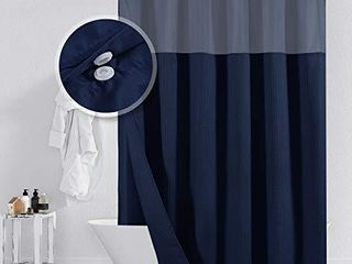 Barossa Design Hotel Style Cotton Shower Curtain with Snap in Fabric liner  Mesh Window Top  Honeycomb Waffle Weave Cotton Blend Fabric  Washable  Navy Blue  71x72 Inches