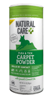 NATURAl CARE  strong and gentle set sleep and tick carpet powder kills by contact fleas leave eggs flea larvae with Geraniol   Cornmint Oils