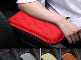 Mioloe Universal Red Auto Center Console Cover Pad Fit for for SUV Truck Car  Waterproof Car Armrest Seat Box Cover  leather Auto Armrest Cover