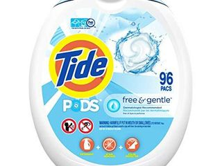 Tide PODS Free and Gentle laundry Detergent  96 Count  Unscented and Hypoallergenic for Sensitive Skin  Free and Clear of Dyes and Perfumes  HE Compatible  Packaging May Vary