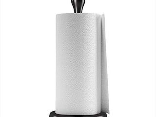Umbra Tug Modern Stand Up Paper Towel Holder Easy One Handed Tear Kitchen Paper Towel Dispenser with Weighted Base for Standard Paper Towel Rolls  Metallic Black