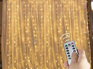 Hanging Window Curtain lights 9 8 Feet Dimmable and Connectable with 300 led  Remote  8 lighting Modes  Timer for Bedroom Wall Holiday Party Indoor Outdoor Decor  Warm White  Curtain is Not Included