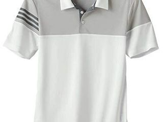 adidas Mens Heather 3 Stripes Block Sport Shirt  A213   White Vist  M
