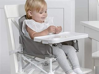 Regalo My Chair 2 in 1 Portable Travel Booster Seat   Activity Chair  Bonus Kit Includes  Oversized Removable Tray with Cup Holder  Travel Case  Grey