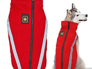 Didog Warm Dog Winter Jacket Waterproof Fleece Coat  Reflective Cold Weather Sport Vest Jacket Fit Medium large Dogs  Red  4Xl