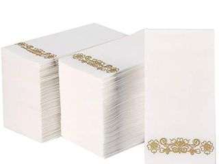 200 Disposable Guest Towels  Decorative Bathroom Napkins  Soft and Absorbent linen Feel Paper Hand Towels for Kitchen  Bathroom  Parties  Weddings  Dinners or Events  Gold