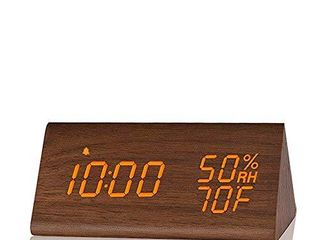 Digital Alarm Clock  with Wooden Electronic lED Time Display  3 Alarm Settings  Humidity   Temperature Detect  Wood Made Electric Clocks for Bedroom  Bedside  Brown