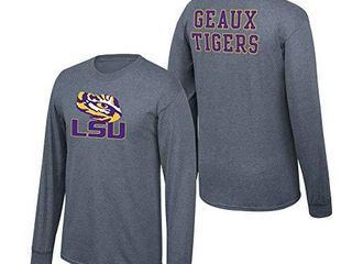 Elite Fan Shop lsu Tigers Men s Dark Heather Back long Sleeve Tee  large