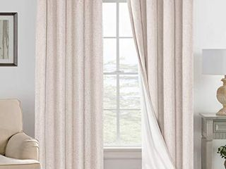 linen Blackout Curtains 96 Inches long 100  Absolutely Blackout Thermal Insulated Textured linen look Curtain Draperies Anti Rust Grommet  Energy Saving with White liner  2 Panels  Natural