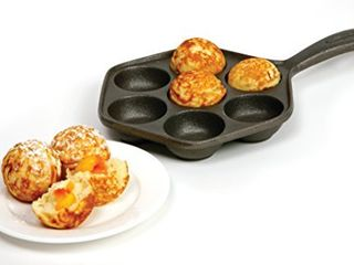 Norpro Cast Iron Stuffed Pancake Pan  Munk Aebleskiver  2    5cm diameter  Black