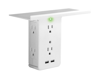 Socket Shelf 8 Port Surge Protector Wall Outlet by Sharper Image  As Seen On TV