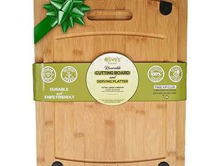 Olive s Kitchen Organic Bamboo Cutting Board Set of 2   Reversible Extra large   Medium   Deep Juice Grooves   Non Slip Grips   Eco Friendly   Harder than Wood  With Handle