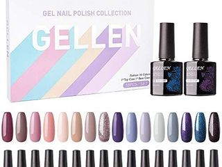 Gellen Gel Nail Polish Kit 16 Colors With Top Base Coat   Popular Nude Grays Nail Gel Collection  Solid Sparkles Glitters UV Pastel Fall Winter Nail Gel Colors Manicure Set