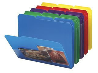 Smead Poly File Folder with Slash Pocket  1 3 Cut Tab  letter Size  Assorted Colors  30 per Box  10540