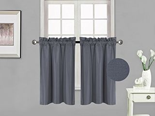 Elegant Home 2 Panels Tiers Small Window Treatment Curtain Insulated Blackout Drape Short Panel 28  W X 36  l Each for Kitchen Bathroom or Any Small Window   R5  Charcoal
