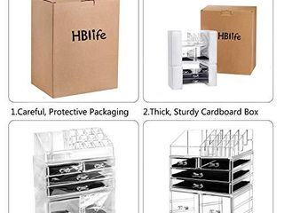HBlife Makeup Organizer 3 Pieces Acrylic Cosmetic Storage Drawers and Jewelry Display Box  Clear