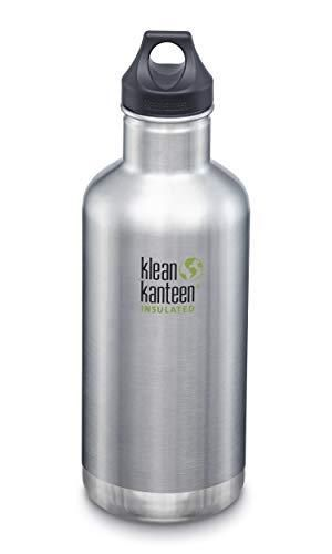 Klean Kanteen Classic Stainless Steel Double Wall Insulated Water Bottle with loop Cap  32 Ounce  Brushed Stainless