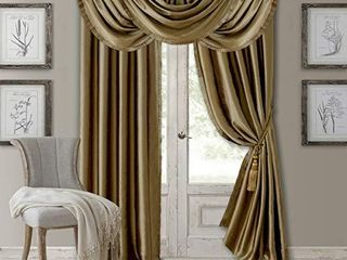 Elrene Home Fashions Versailles Faux Silk Room Darkening   Energy Efficient lined Rod Pocket Window Curtain Drape Pleated Solid Panel  52  x 95   1  Gold