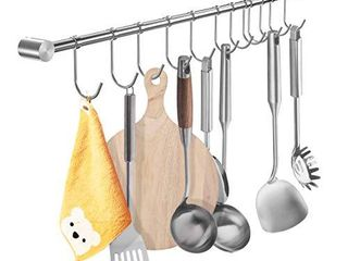 YIHAIXINGWEI Utensil Racks  22Inch Kitchen hanger 304 Stainless Steel Wall Hanging Rail Rod Wall Mount Pot Rack Pans Flatware Storage Organization holder With 12 Sliding Hooks