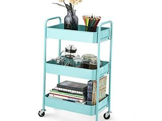 CAXXA 3 Tier Rolling Metal Storage Organizer   Mobile Utility Cart with Caster Wheels  Tiffany Blue