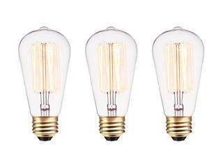 Globe Electric 60W Vintage Edison S60 Squirrel Cage Incandescent Filament light Bulb  3 Pack  31321   2 Count