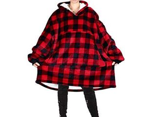Oversized Hoodie Blanket Sweatshirt Super Soft Warm Comfortable Sherpa Giant Pullover with large Front Pocket for Adults Men Women Teenagers Kids Wife Girlfriend Buffalo Plaid Red Black