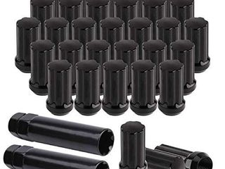 MuHize 32pcs Black lug Nuts M14x1 5 Kit with 2 Keys Closed End Spline Nut 2  Tall  60 Degree Hex Wheel lug Nuts  Thread Size 14x1 5