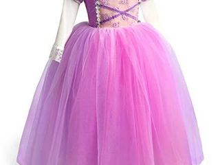 TolaFio Rapunzel Costume Girl Princess Dress Up Clothes Birthday Halloween Role Play Gown