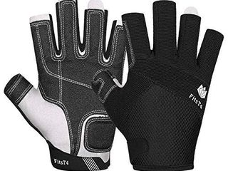 FitsT4 Sailing Gloves 3 4 Finger Padded Palm   Mesh Back for Comfort   Perfect for Sailing  Paddling  Canoeing  Kayaking  SUP for Men Women   Kids Black M