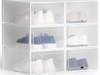 ASKITO Shoe Organizer Box  Clear Stackable Shoe Storage  Plastic Drawer Front Shoe Container  6 Pack