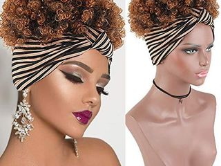 Afro Puff Faux Hair Bun Wigs with Soft Calico Pattern Headband Wigs for Black Women Cute Brown Wigs KRSI Afro Kinky Curly Wig with Headband Attached Ponytail Wigs for Black Women 1B 30