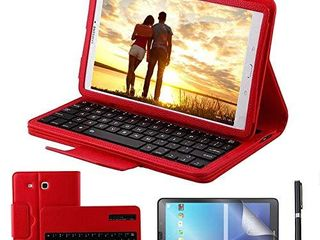 Galaxy Tab E 9 6 Keyboard Case with Screen Protector   Stylus  REAl EAGlE Separable Fit PU leather Case Cover Magnetically Wireless Keyboard for Tab E 9 6 Inch SM T560 T561 T567 Red