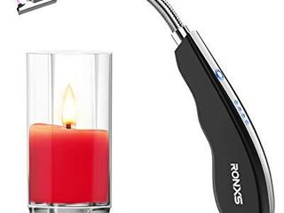 RONXS lighter Electric Arc long Candle lighter with lED Safety Switch  USB Rechargeable lighter Flexible Neck for Outdoors and Camping Black