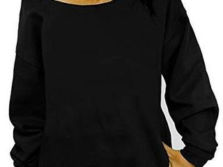 lYXIOF Womens Off Shoulder Sweatshirt Slouchy Shirts Baggy long Sleeve Pullover Tops Black 2Xl