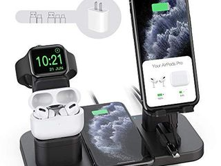 Wireless Charger Stand  CEREECOO 4 in 1 Wireless Charging Station Dock Compatible with iPhone Series12 11 11pro Xr Xs X Max 8 8Plus Apple Watch6 5 4 3 AirPods Pro 1 2 iWatch Charger Required