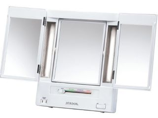 Jerdon Tri Fold Two Sided lighted Makeup Mirror with 5x Magnification  White Finish