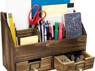 Rustic Wood Office Desk Organizer  Includes 6 Compartments and 2 Drawers to Organize Desk Accessories  Mail  Pens  Notebooks  Folders  Pencils and Office Supplies  Dark Brown