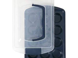 Wilton Non Stick Diamond Infused Navy Blue Muffin and Cupcake Pan  12 Cup