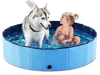 Jasonwell Foldable Dog Pet Bath Pool Collapsible Dog Pet Pool Bathing Tub Kiddie Pool for Dogs Cats and Kids  48inch D x 11 8inch H  Blue