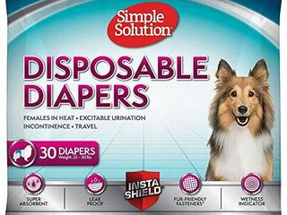 Simple Solution True Fit Disposable Dog Diapers for Female Dogs   Super Absorbent with Wetness Indicator   Medium   30 Count
