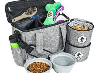 Top Dog Travel Bag   Airline Approved Travel Set for Dogs Stores All Your Dog Accessories   Includes Travel Bag  2X Food Storage Containers and 2X Collapsible Dog Bowls   Gray