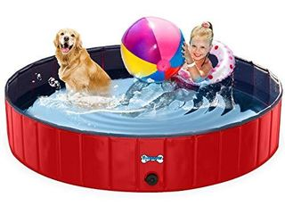 V HANVER Foldable Dog Pool Hard Plastic Collapsible Pet Bath Tub for Puppy Small Dogs Cats and Kids